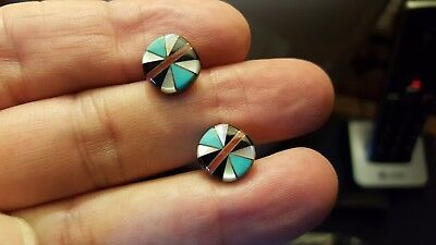 Native American 925 Turquoise, Onyx, Red Coral Inlay Stud Earrings Signed HK