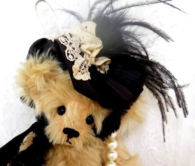 """ARTIST TEDDY BEAR 12"""" Tan Mohair L/E Jointed Miss Kitty By Sandy Fleming"""
