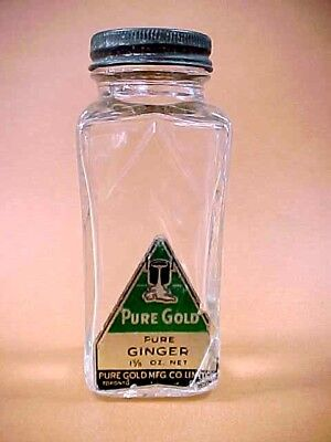 ANTIQUE 1930's Pure Gold Spice Jar Bottle Pure GINGER 1 5/8 oz. Good Condition