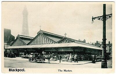 Rare Postcard Horse Drawn Wagon-St. John`s Market-Stalls & Shoppers-Blackpool