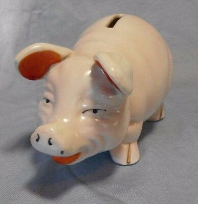 Old Antique Japan Made ~  Real Pig Piggy Bank ~ Ceramic No Stopper ~ Near Mint