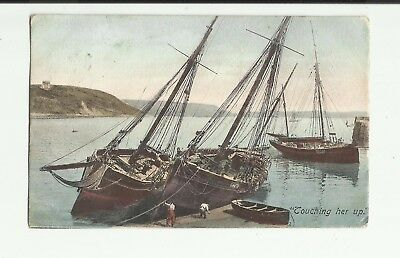Sailing Ship in Harbour Dock. Touching her up. Horley 1904.