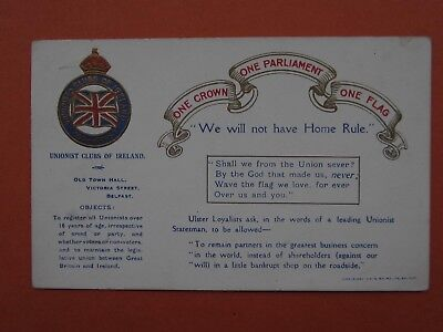 1912 West Belfast Unionist Club Political Postcard Embossed Sent 7/ 1912 Vry Gd
