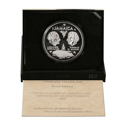 Jamaica 10th Anniversary of Independence 10 Dollars 1972  Proof Silver