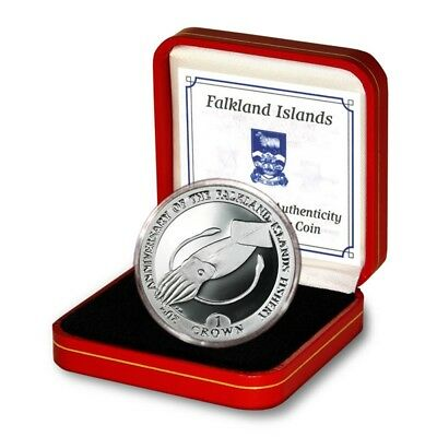 Falkland Islands 20th Anniversary Fisheries Giant Squid Proof Silver Crown 2007