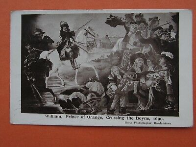 Ulster Political Postcard William 111 Boyne Battle Scomberg Dying ..randalstown