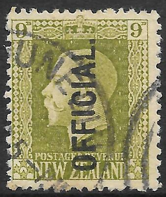 NEW ZEALAND 1925 9d sage-green OFFICIAL, used slight fault. SG O104. Cat.£38.