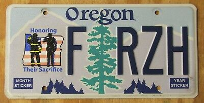 OREGON - HONOR POLICE FIRE license plate  2013  FRZH