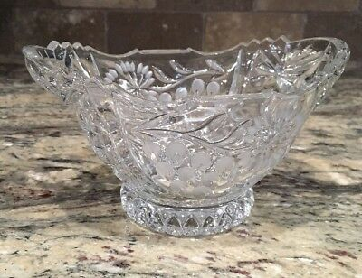 Vintage Lead Crystal Unique Candies Nuts Condiments Bowl On Base Frosted Flowers