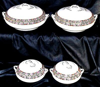 """Christmas Dinner Set 4 Covered Tureens  Super Condition 9"""" & 6"""" Diameters"""
