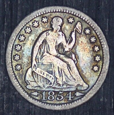 1854-P U.S. Seated Liberty Half Dime Silver 5 Cents Coin - NICE QUALITY