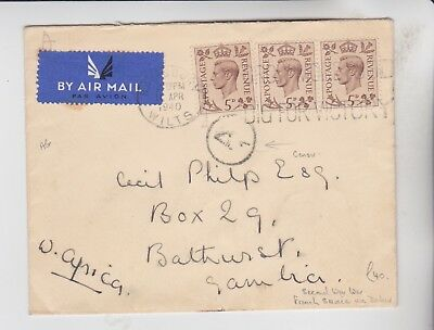 Gb Stamps 1940 Airmail Censored Envelope To Gambia  From Collection