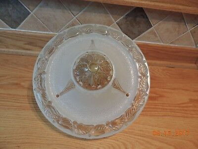 Art Deco glass ceiling light Shade Frosted Clear 1930's Leaves & Berries 3 Holes