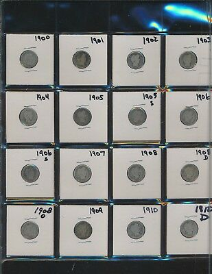 BARBER SILVER DIMES.COLLECTION - 1900-1916-s  -  (28 DIFFERENT DATES)