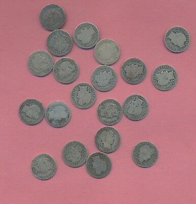 BARBER SILVER DIMES. - 1908-D - ( DENVER lot of 20 coins_