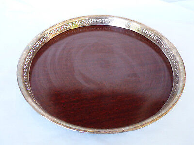 """VTG The Sheffield Silver Plated Formica serving tray decorative footed 10.5"""""""