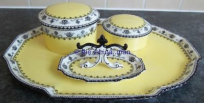 AYNSLEY porcelain canary yellow 3268 DRESSING TABLE SET ENGLAND tray ring pots