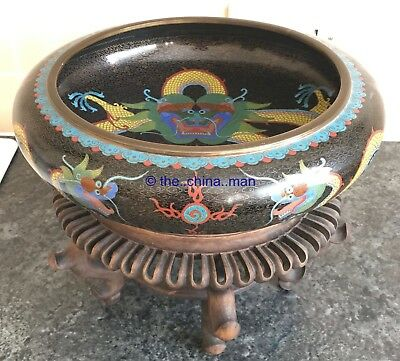 """11.5"""" SIGNED antique CHINESE CLOISONNE DRAGON & FLAMING PEARL FIRE BOWL on STAND"""