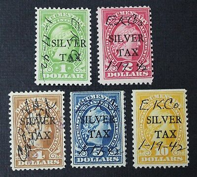 CKStamps: US Revenue Silver Tax Stamps Collection Scott#RG13/RG18 (5) Used