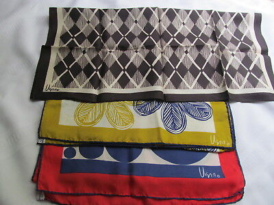 Vintage Vera Neuman Scarves Lot Of 3, Silk And Silk Blend, Acetate