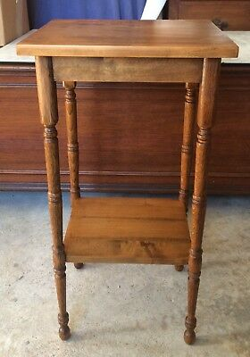 Antique Tiger Maple and Oak Small Two Tier Table