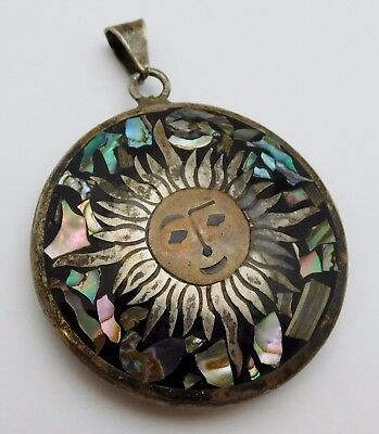 BEAUTIFUL Mexican Sterling Silver / Abalone Ladies Pendant