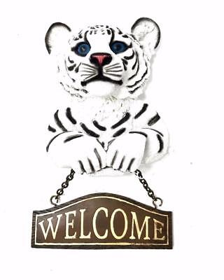 White Tiger Cub Whimsical Figural Welcome Sign  NIB