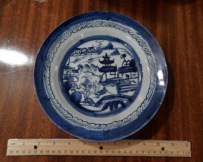 """Antique 19th Century Chinese Export Blue White Canton Dish Plate 8 3/4"""""""