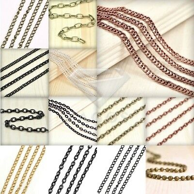 4m/13.12 feet Unfinished Chains Necklace DIY Curb Chain 2.8x1.4mm 5 COLOR JA