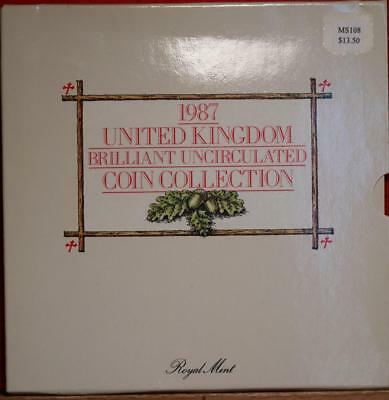 Uncirculated 1987 United Kingdom Brilliant Coin Collection Free S/H