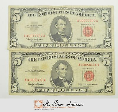 Lot of (2) $5.00 Red Seal US Notes Currency Collection 1963 *865