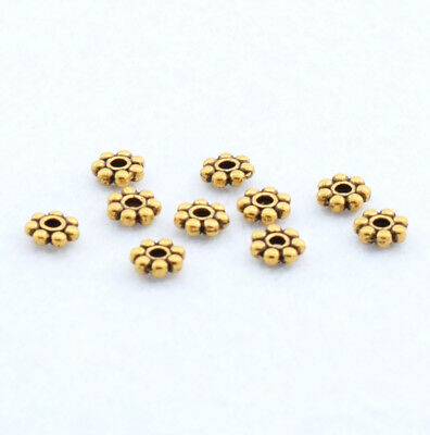 HOT 100pcs Antique Gold Charms Snowflake Spacer Beads Jewelry Finding 5.5mm