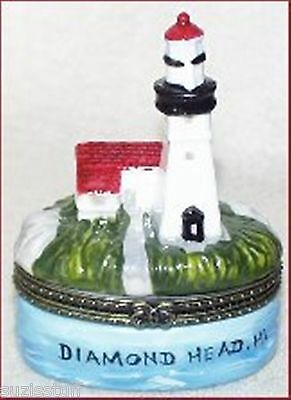 DIAMOND HEAD, HI LIGHTHOUSE-Porcelain Hinged-Box-from THE LIGHTHOUSE SERIES