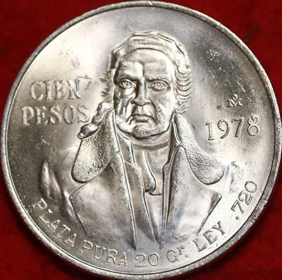 Uncirculated 1978 Mexico 100 Pesos Silver Foreign Coin Free S/H