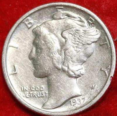 Uncirculated 1937-S San Francisco Mint Silver Mercury Dime Free Shipping