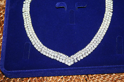 Simulated Created Lab Diamond  3 row Necklace New in Carat London Box
