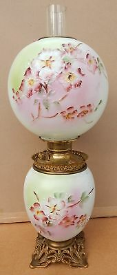 Antique Gone With The Wind Oil Lamp Embossed Painted Dogwood Flowers Brass Base