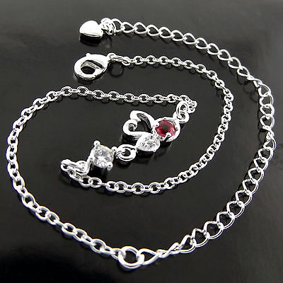 Fsa555 Genuine Real 925 Sterling Silver S/f Girls Diamond Simulated Ruby Anklet