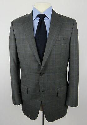 Ermenegildo Zegna Trofeo 600 2-Btn Sport Coat_Gray Glen Plaid w/Blue Checks_40R