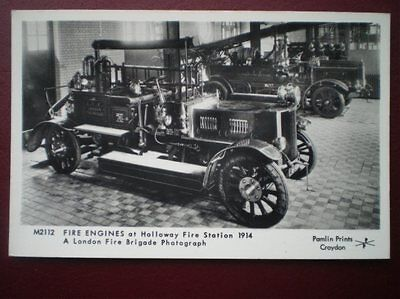 Postcard Fire Engines Fire Engine At Holloway Fire Station 1914