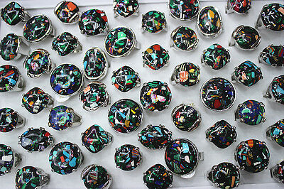 Wholesale jewelry lots 40pcs mixed style green natural stone lady's Rings EH223