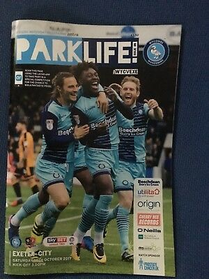 Wycombe Wanderers  V Exeter City   14/10/17  Programme   Sky Bet League 2