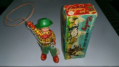 Vintage Alps 1950's Mechanical Cowboy With Whirling Lasso Tin Toy  Boxed Works