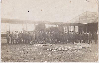 WW1 RPPC - German Gotha Bomber Aircraft with Air and Ground Crew Outside Hanger