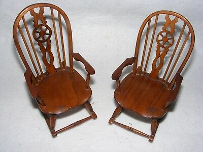 Lovely Hand Made Miniature Furniture Wooden Wheel Back Rocking Chair X 2 Elm ?