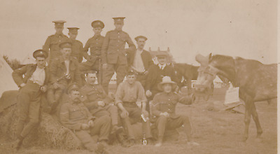 WW1 RPPC - Liverpool RA at camp larking around with a Horse in a Hat