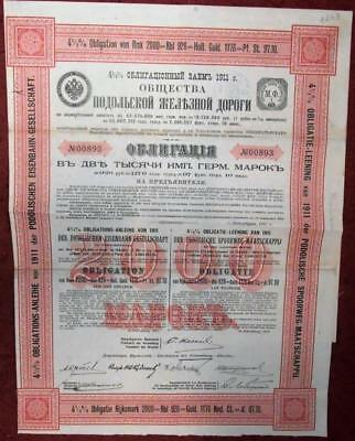 31506 RUSSIA 1911 Podelische Railway 2000 RM Bond with coupons