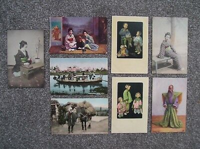8 Japan Japanese postcards, 1904 - 1907. Priest, Tea, Ferry, Packhorse, Girls.
