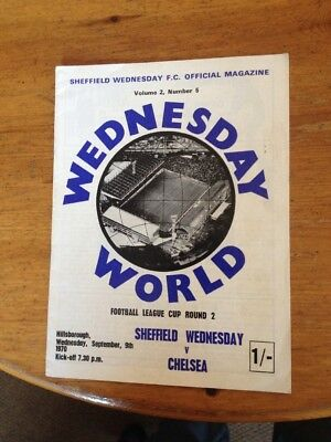 SHEFFIELD WEDNESDAY v CHELSEA LEAGUE CUP 2nd ROUND PROGRAMME 1970/71