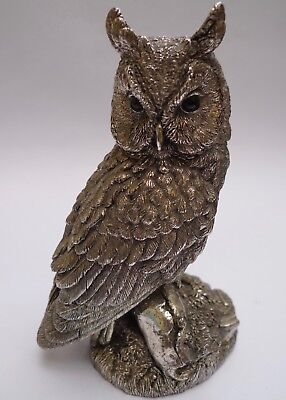 VINTAGE STUNNING STERLING SILVER LARGE OWL BY COUNTRY ARTISTS - 5 1/2 inch 1992